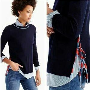 J Crew Navy 100% Merino Wool Sweater Side Slit